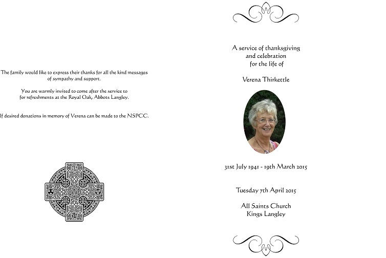 VERENA THIRKETTLE ORDER OF SERVICE